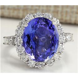 8.15 CTW Natural Blue Tanzanite And Diamond Ring In 18K White Gold