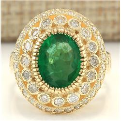 3.45 CTW Natural Emerald And Diamond Ring In 18K Yellow Gold