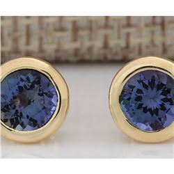 2.60 CTW Natural Tanzanite Earrings 14k Solid Yellow Gold