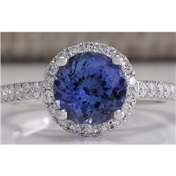 2.17 CTW Natural Blue Tanzanite And Diamond Ring In 14K Solid White Gold