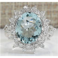 3.28 CTW Natural Blue Aquamarine And Diamond Ring In 18K White Gold
