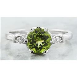 1.50 CTW Peridot 18K White Gold Diamond Ring