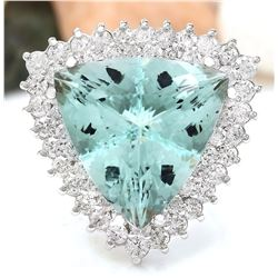 17.32 CTW Natural Aquamarine 18K Solid White Gold Diamond Ring