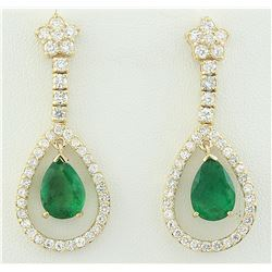 7.05 CTW Emerald 18K Yellow Gold Diamond Earrings