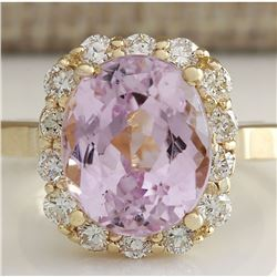 8.06 CTW Natural Kunzite And Diamond Ring 14K Solid Yellow Gold