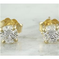 0.80 CTW Diamond 18K Yellow Gold Solitaire Stud Earrings