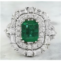 5.12 CTW Emerald 18K White Gold Diamond Ring