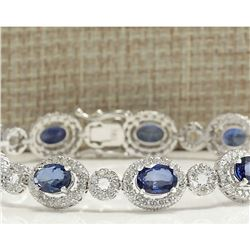 12.64 CTW Natural Sapphire And Diamond Bracelet In 18K White Gold