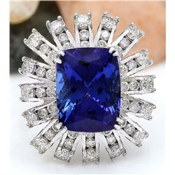 13.51 CTW Natural Tanzanite 18K Solid White Gold Diamond Ring