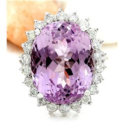 23.73 CTW Natural Kunzite 18K Solid White Gold Diamond Ring
