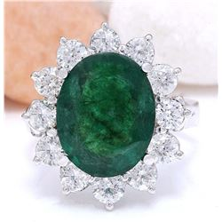 4.68 CTW Natural Emerald 18K Solid White Gold Diamond Ring