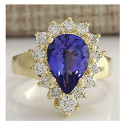3.33 CTW Natural Blue Tanzanite And Diamond Ring 18K Solid Yellow Gold
