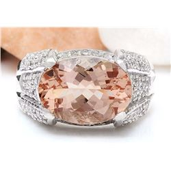 6.95 CTW Natural Morganite 18K Solid White Gold Diamond Ring