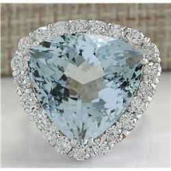 15.92 CTW Natural Aquamarine And Diamond Ring In 18K Solid White Gold