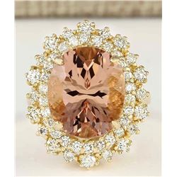 8.70 CTW Natural Morganite And Diamond Ring In 18K Solid Yellow Gold