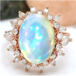 4.95 CTW Natural Opal 18K Solid Rose Gold Diamond Ring