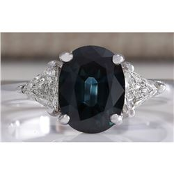 2.95 CTW Natural Blue Sapphire Diamond Ring 18K Solid White Gold