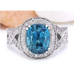 7.20 CTW Natural Zircon 18K Solid White Gold Diamond Ring
