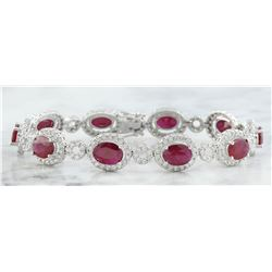 14.50 CTW Ruby 14K White Gold Diamond Bracelet