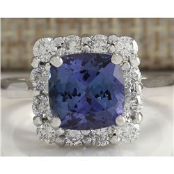 3.72 CTW Natural Blue Tanzanite And Diamond Ring In 18K White Gold