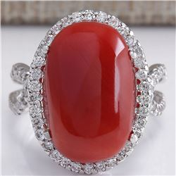 11.44 CTW Natural Red Coral And Diamond Ring In 14k White Gold