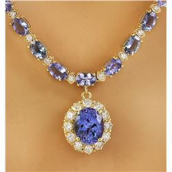 42.87 CTW Tanzanite 18K Yellow Gold Diamond Necklace