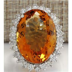 17.30 CTW Natural Citrine And Diamond Ring 18K Solid White Gold