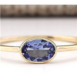 0.60 CTW Natural Blue Tanzanite Ring 18K Solid Yellow Gold