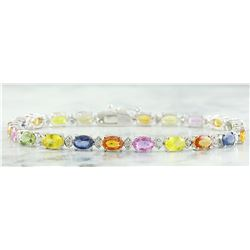 13.35 CTW Sapphire 14K White Gold Diamond Bracelet