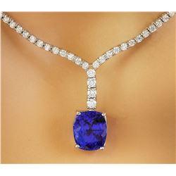 9.25 CTW Tanzanite 14K White Gold Diamond Necklace