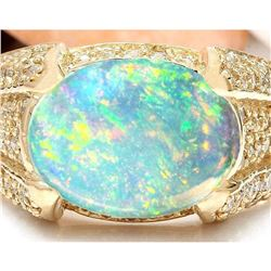 5.90 CTW Natural Opal 18K Solid Yellow Gold Diamond Ring
