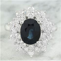 3.93 CTW Sapphire 14K White Gold Diamond Ring