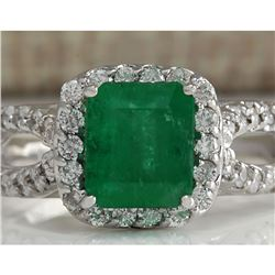 2.18 CTW Natural Emerald And Diamond Ring 18K Solid White Gold