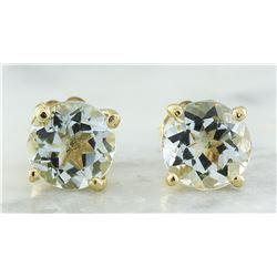 1.06 CTW Aquamarine 14K Yellow Gold Earrings