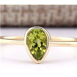 0.50 CTW Natural Peridot Ring In 14k Yellow Gold