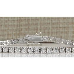 4.80 CTW Natural Dimond Bracelet In 18K Solid White Gold