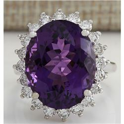 14.82 CTW Natural Amethyst And Diamond Ring In 18K Solid White Gold