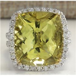 14.12 CTW Natural Lemon Quartz And Diamond Ring In18K Solid White Gold