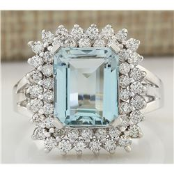 5.52 CTW Natural Aquamarine And Diamond Ring In 14k Solid White Gold