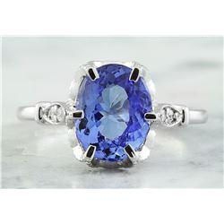 2.69 CTW Tanzanite 18K White Gold Diamond Ring