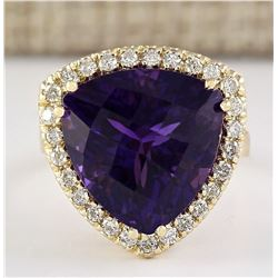 12.65 CTW Natural Amethyst And Diamond Ring In 18K Solid Yellow Gold