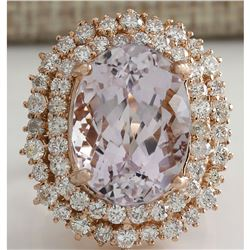 14.50 CTW Natural Peach Morganite And Diamond Ring In 18K Solid Rose Gold