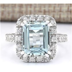 5.63 CTW Natural Aquamarine And Diamond Ring In 18K White Gold
