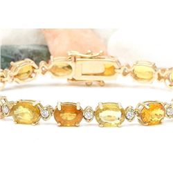 30.65 CTW Natural Sapphire 18K Solid Yellow Gold Diamond Bracelet
