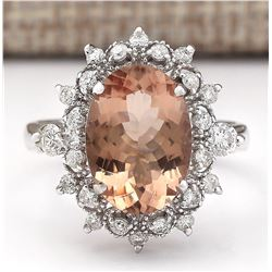 4.38 CTW Natural Morganite And Diamond Ring In 18K White Gold