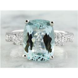 4.75 CTW Aquamarine 14K White Gold Diamond Ring