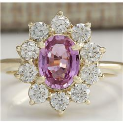2.37 CTW Natural Pink Ceylon Sapphire Diamond Ring 18K Solid Yellow Gold