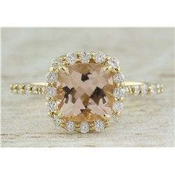 2.32 CTW Morganite 18K Yellow Gold Diamond Ring