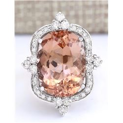 13.51 CTW Natural Morganite And Diamond Ring In 18K White Gold