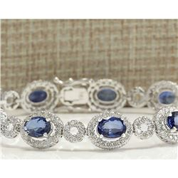 12.64 CTW Natural Sapphire And Diamond Bracelet In 14K White Gold